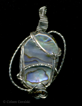 Abalone and Sterling Silver Wire Wrap 1.5 inches long