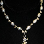 Aqua Marine Sterl Silver Work by Coleen Goralski 7-8 mm Nugget Pearls Drop Pearls and Czech 19.5 inches long