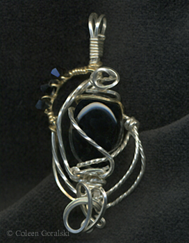 Black Onyx Sterling Silver and 10 kt Gold and Swarsovski Wire Wrap Pendant 2 x 1