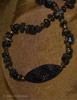 Blue Goldstone and Czech Necklace 16 inches