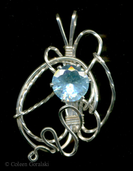 Cubic Zirconia Sterling Wire Wrap