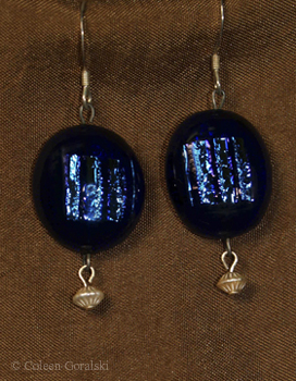 Dichroic Fused Earrings and Sterling drops