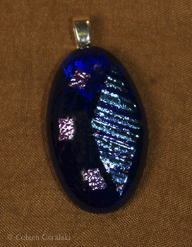 Dichroic Fused Pendant- Elecrtic Blue on Blue and 3 Pink