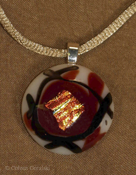 Dichroic Fused Pendant-round cream red black and fire orange dichroic