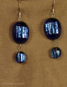 Double Fused Dichroic Electric Blue Earrings