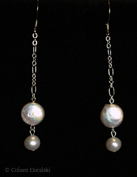 Double Pearl and Sterling Earrings