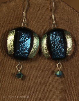 Fused Stripe Swarsovki and Sterling Earrings