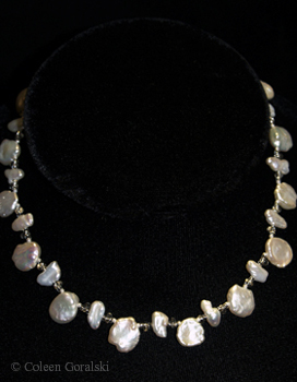 Keshi Pearls and Czech single strand - adjustable length -16.5 at the longest length 14 at the shortest length