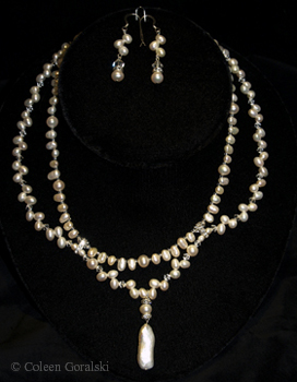 Lace Elegance-Pearls and Swarovski double strand 16 inches