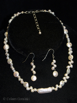 Long Biwa Center Coin and drop pearl earrings and necklace set -adjustable length-18 inches at the longest 16 inches at the shortest length