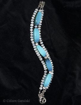 Opalite Moonstone and Sterling Silver 3 Strand Bracelet 8 inches