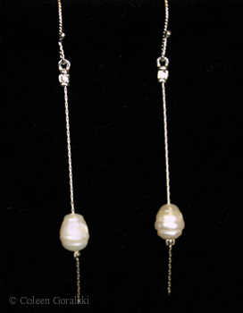 Pearl and Sterling Drop Earrings