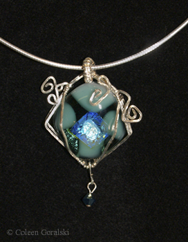 Sterling Wire Wrap Fused Pendant with 16 inch Snake Chain