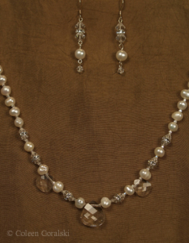 Swarsovki Fresh Water Pearls and Sterling Set- 18 inches in length