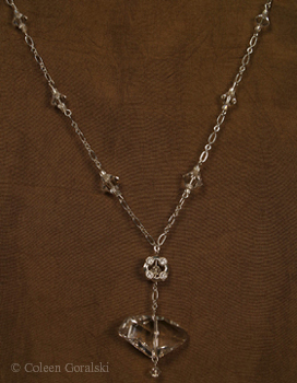 Swarsovski Cyrstal and Sterling Chain-adjustable length 16 inches at the longest and 15 inches-2