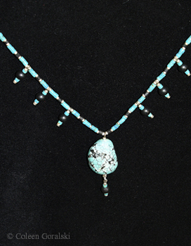 Turquoise Japanese Necklace 16 inches