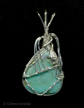 Turquoise and Sterling Silver Wire Wrap 2 x 1 inch